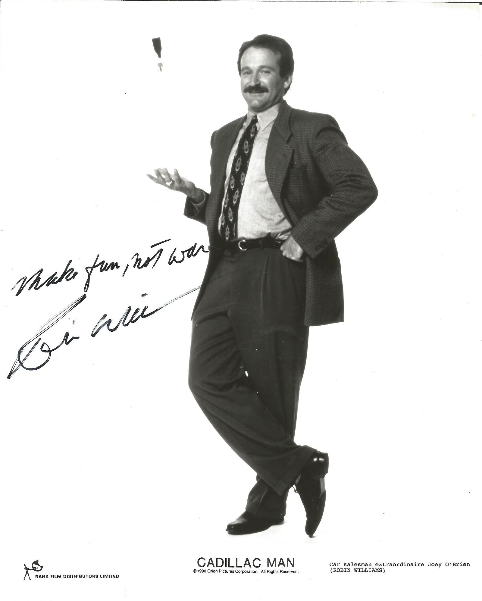 Robin Williams signed 10x8 Cadillac Man black and white