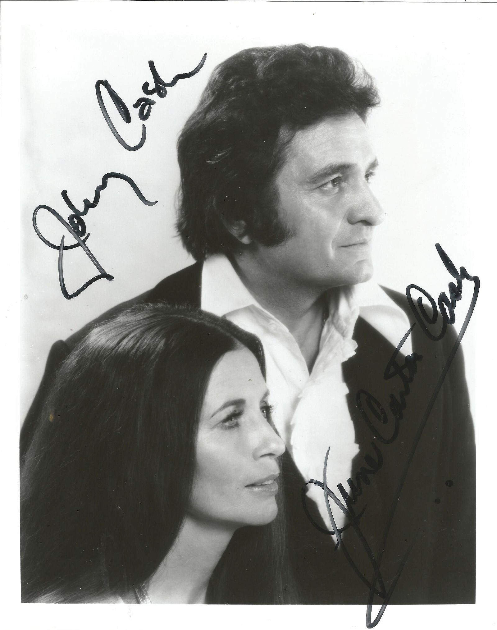 Johnny Cash and June Carter Cash signed 10x8 black and