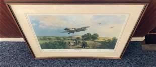 World War II multi signed print 32x26 mounted and