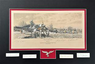World War II multi signed 24x16 mounted limited edition