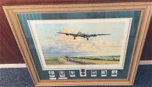 World War II multi signed 39x34 mounted and framed