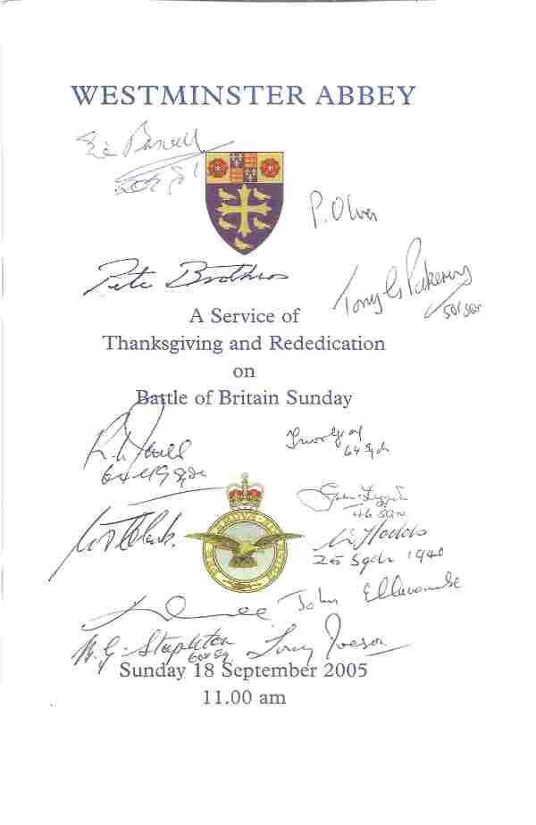 World War II multi signed Westminster Abbey Battle of
