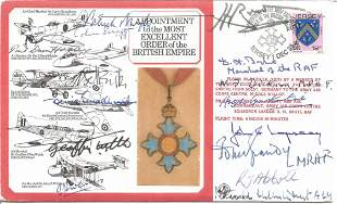 WW2 15 OBE winners multiple signed RAF medal cover.