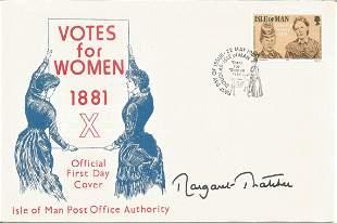 Margaret Thatcher signed unflown Votes for Women 1881