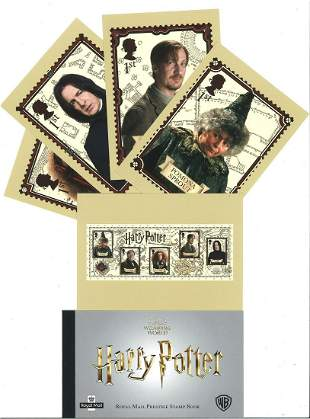 Harry Potter collection of 18 PHQ cards and a stamp
