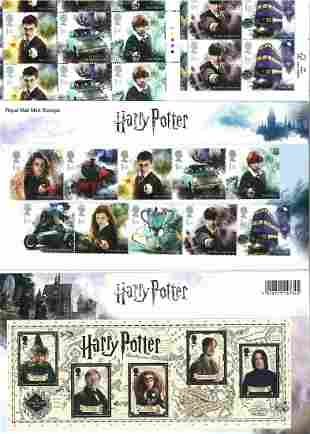Harry Potter collection of stamp sheets and