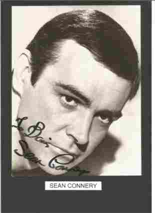 Sean Connery signed 9x7 black and white photo on 12x8
