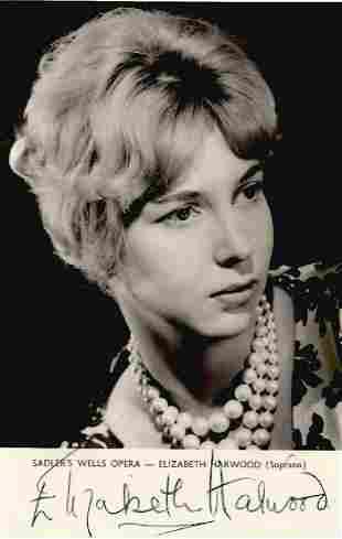 Elizabeth Harwood signed 6x4 black and white