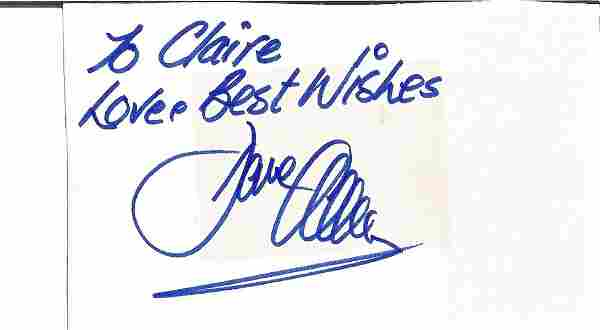 Dave Allen signed and dedicated 3x5 autograph page.