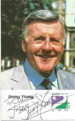 Jimmy Young signed and dedicated 6x4 colour promo