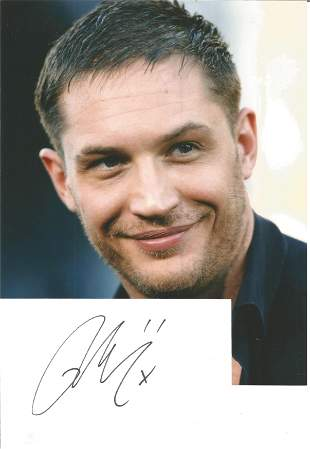 Tom Hardy signed 6x4 white card with 10x8 colour