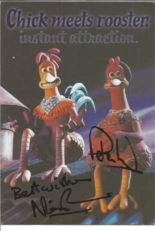 Nick Park and Peter Lord signed promotion card for