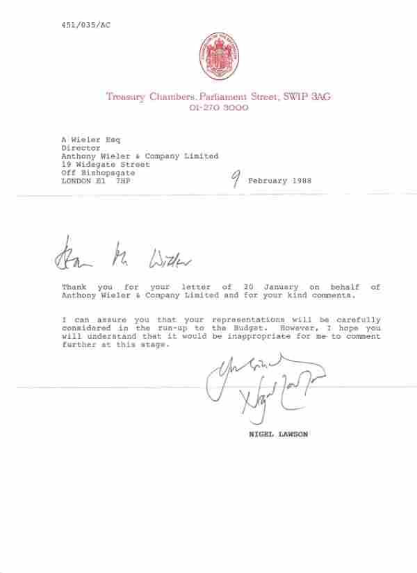 Nigel Lawson signed TLS on Treasury Chambers