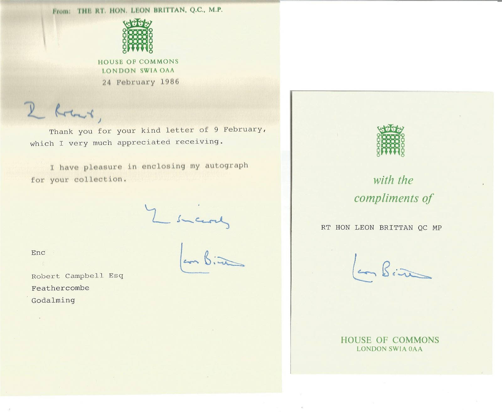 Leon Brittan QC TLS on A5 House of Commons headed paper