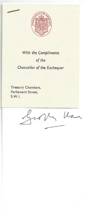 Geoffrey Howe signature on 4 x 8 piece of paper with