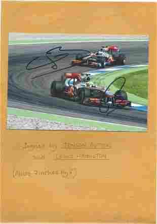 Jenson Button and Lewis Hamilton signed 7x5 colour