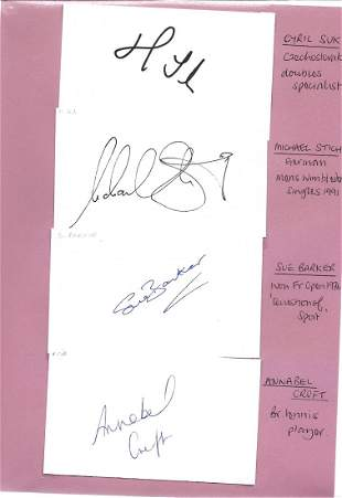 Signed tennis collection of 4 white cards. Signed by