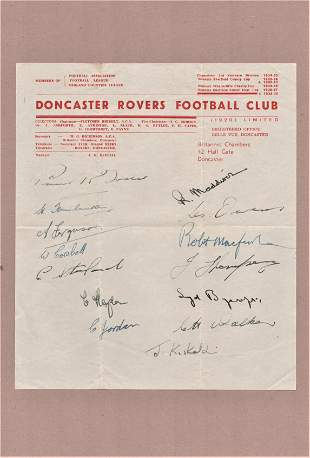 Football, Doncaster Rovers multi-signed headed paper