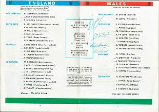 Football, England Vs. Wales official programme dated