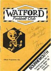 Elton John signed Watford Football Club programme v