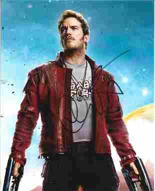 Chris Pratt signed 10x8 Guardians of the Galaxy colour