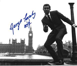 George Lazenby signed 10x8 black and white photo