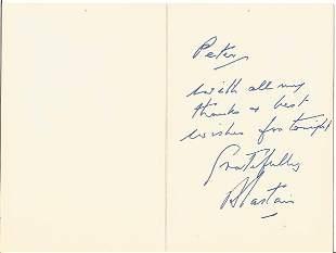 Alastair Sim signed card. Alastair George Bell Sim, CBE