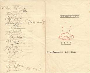 WW2 Multiple signed RAF Hospital, Changi. New Year 1949