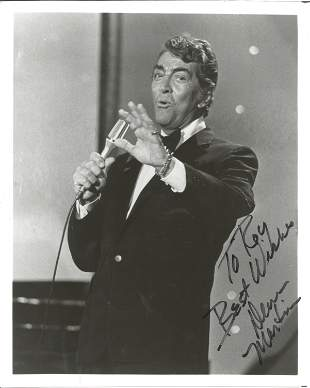 Dean Martin signed 10x8 black and white photo.
