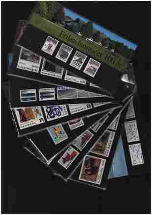 Denmark stamp presentation pack collection. 18 in