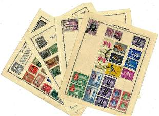 World stamp collection 6 loose album pages countries