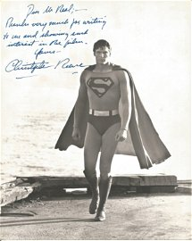 Superman Christopher Reeve signed an inscribed 10 x 8