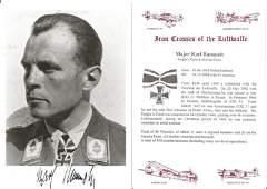 WW2 Luftwaffe fighter ace Mjr Karl Rammelt KC signed 6