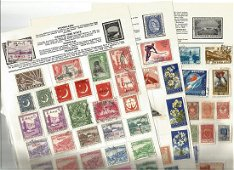 World stamp collection on 11 loose album pages.