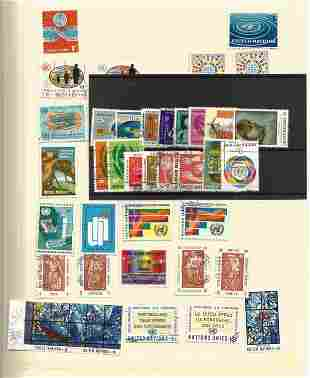 United Nations stamp collection on 12 loose pages and 1