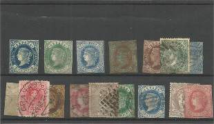 16 Spanish stamps on stockcard. Good condition. We