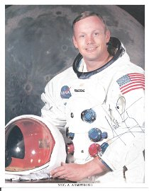 Neil Armstrong signed 10 x 8 inch colour white space