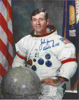 John Young Apollo 16 astronaut signed 10 x 8 inch