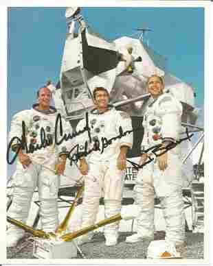 Apollo 12 crew signed 10 x 8 inch colour photo. Signed