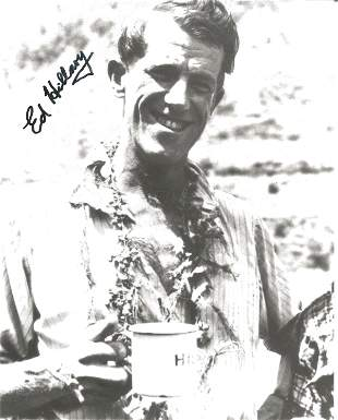 Sir Ed Hillary signed 12 x 8 inch b/w photo smiling