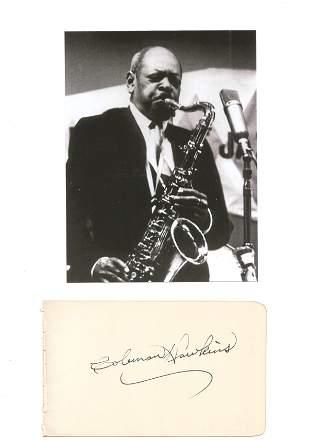 Music Coleman Hawkins signed rare autograph album page