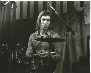 Charlie Watts signed 10x8 black and white photo.