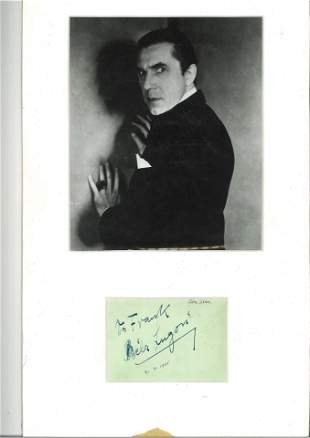 Bela Lugosi 18x11 mounted signature piece includes