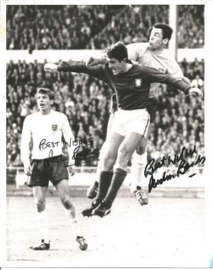 Gordon Banks and Martin Peters signed 10x8 black and