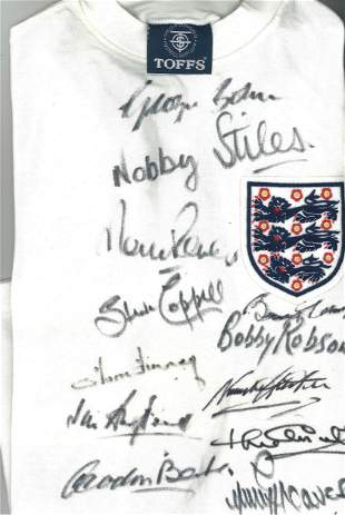 Football England Legends multi signed Retro England