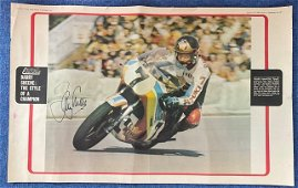 Barry Sheene signed 24x17 Motor Cycle News colour