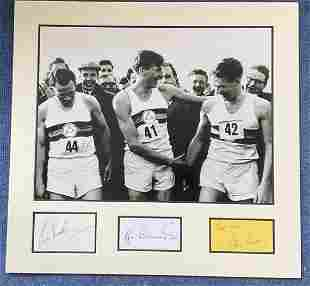 Four Minute Mile 19x18 mounted signature piece includes