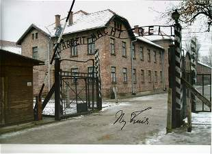 WW2 Iby Knill signed 12 x 8 inch colour Auschwitz