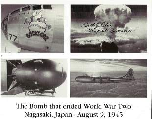 WW2 Fred Olivi Co Pilot Atom bomb plane Bockscar signed