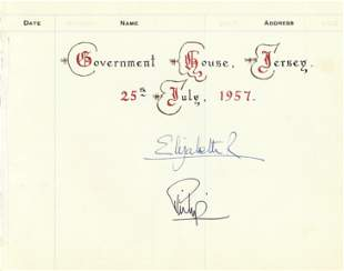 Queen and Prince Phillip signed page taken from a